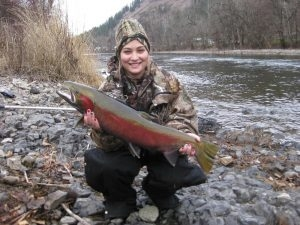 Danielle Willis - Dec. 25th 2012 First Steelhead - Tom Cats Steelhead Pictures Salmon Pictures