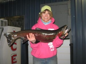 Nancys First Steelhead - February 2013 - Tom Cats Steelhead Pictures Salmon Pictures