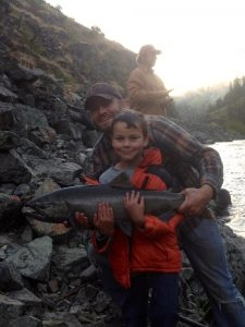 Tavens first salmon - 7 years old - Tom Cats Steelhead Pictures Salmon Pictures